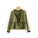 Contrast Trim Collarless Long Sleeve Open Front Crop Jacket