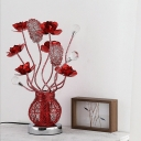 Art Deco Floral and Vase Table Lighting Aluminum Wire LED Nightstand Lamp in Red for Parlour