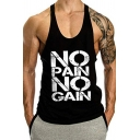 NO PAIN NO GAIN Letter Printed Sleeveless Scoop Neck Gym Muscle Tank Men Tee