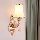 Postmodern Flared Wall Mount Lamp Single Frosted White Glass Wall Lighting Fixture in Gold