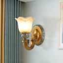 White Frosted Glass Gold Wall Lamp Flower Shade 1/2-Head Traditional Wall Lighting Idea