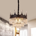 1/3-Layer Crystal Chain Suspension Lamp Modernism 4-Light Bedroom Chandelier with Black Crown Top