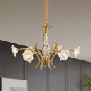 Modernist Flower Chandelier Light Fixture 6-Light Clear Crystal Glass Pendulum Lamp in Gold