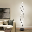 Spiral Linear Floor Stand Light Contemporary Acrylic LED Bedroom Floor Lamp in Black, White/Warm Light