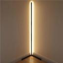Black Finish Linear Standing Floor Light Simple Style LED Metallic Floor Lamp for Corner