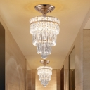 LED Semi Mount Lighting Traditional Style Tapered Tier Crystal Block Flush Mount Lamp in Gold