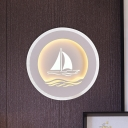 Acrylic Round Wall Light Sconce Modern LED White Wall Lamp Fixture with Boat/Tree Pattern