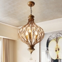 Lantern Metal Ceiling Chandelier Traditional 3 Bulbs Restaurant Crystal Pendulum Light in Bronze