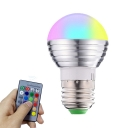 1pc 5 W RGBW Smart Bulb E14/E27 5-LED Beads Remote Control Color Changing Plastic Pear Shaped Bulb in Silver