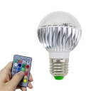 1-Pack Ball/Oval 10 W Light Bulb 6 LED Beads Plastic E27/E14 Smart Bulb Lamp in Multi Colored Light with Remote Control