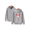 Casual Mens Sherpa Lined Cartoon Printed Long Sleeve Zipper Front Relaxed Hoodie