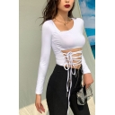 Sexy Womens Solid Color Long Sleeve Asymmetric Neck Hollow out Front Fitted Crop Tee in White