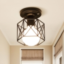 Hexagon Cage Iron Ceiling Flush Industrial Style 1-Light Black Finish Flush Mounted Lamp