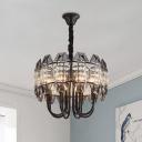 Cut Crystal Drum Chandelier Modernist 8-Bulb Bedroom Hanging Ceiling Light in Black