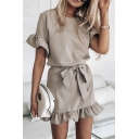 Stylish Womens Plain Bell Sleeves Crew Neck Bow Tie Waist Ruffled Hem Mini A-line Dress