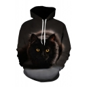 Lovely Men's Cat 3D Printed Drawstring Full Sleeve Relaxed Fit Hooded Sweatshirt with Pocket