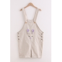 Fashion Girls Rabbit Embroidered Button Sides Panel Pocket Rolled Cuffs Relaxed Suspender Pants