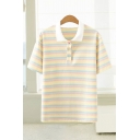 Classic Womens Stripe Pattern Short Sleeve Turn down Collar Button Detail Relaxed Polo Shirt