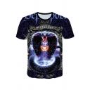 Stylish Mens Animal Letters 3D Pattern Round Neck Short Sleeve Regular Fit T-Shirt