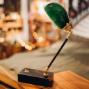 Retro Dome Shade Night Light Single-Bulb Green Glass Table Lighting with Swing Arm in Black/Brown
