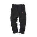 Cool Flap Pockets Cartoon Embroidery Mid Rise Ankle Length Relaxed Pants for Men
