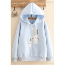 Preppy Girls Sherpa Liner Cartoon Rabbit Embroidery Long Sleeve Drawstring Relaxed Hoodie