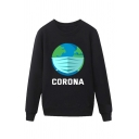 Popular Mens Earth Mask Pattern Letter Corona Pullover Long Sleeve Round Neck Regular Fitted Graphic Sweatshirt