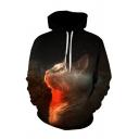 Popular Mens 3D Galaxy Cat Pocket Drawstring Long Sleeve Regular Fit Hooded Sweatshirt in Black