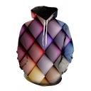 Fancy Mens 3D Colorblock Geometric Printed Pocket Drawstring Long Sleeve Regular Fitted Hooded Sweatshirt