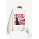 Popular White Cartoon Print Long Sleeve Crew Neck Loose Fitted Pullover Sweatshirt for Girls