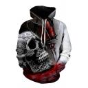 Cool Mens 3D Skull Hand Butterfly Pattern Pocket Drawstring Long Sleeve Regular Fit Hooded Sweatshirt
