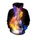 Chic Mens 3D Water Fire Guitar Note Pattern Pocket Drawstring Long Sleeve Regular Fit Hooded Sweatshirt