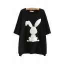 Trendy Womens Rabbit Printed Half Sleeve Round Neck Relaxed Fit Tunic T Shirt