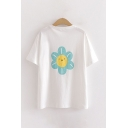 Stylish White Flower Printed Short Sleeve Crew Neck Loose T Shirt for Women