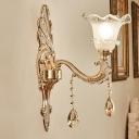 Mid-Century Flower Shape Wall Sconce Light 1/2-Head Ruffle Glass Wall Mount Lamp Fixture in Gold