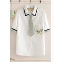 Chic Womens Gingham Contrast Trim Japanese Letter Aguacate Printed Short Sleeve Turn-down Collar Graphic Shirt