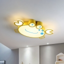 Cartoon LED Flush Mounted Light Yellow Crab Ceiling Lighting with Acrylic Shade for Kids Room