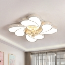 4-Head Loving Heart Ceiling Lamp Modern White Acrylic Flush Mounted Light with Crystal Orb Drops