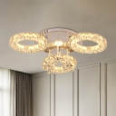 Faceted Cut Crystal Rings Semi Flush Modernism Bedroom LED Ceiling Mount Light in Nickel
