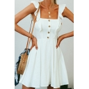 Gorgeous Ladies Plain Sleeveless Square Neck Ruffled Trim Short Pleated A-line Dress in White