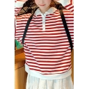 Popular Womens Stripe Printed Contrasted Long Sleeve Turn-down Collar Button Detail Relaxed Polo Shirt