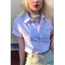 Simple White Letter Embroidered Chest Pocket Rolled Short Sleeve Spread Collar Button up Fit Cropped Shirt