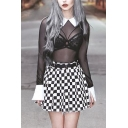 Goth Girls See-through Mesh Long Sleeve Contrasted Point Collar Slim Fit Bodysuit in Black