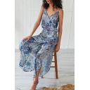 Boho Womens Allover Mixed Print Spaghetti Straps Slit Sides Irregular Hem Maxi A-line Cami Dress in Sky Blue