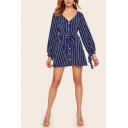 Womens Formal Stripe Print Long Sleeve V-neck Button-down Bow Tied Waist Mini A-line Dress in Blue