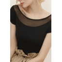 Chic Womens Sheer Mesh Patchwork Short Sleeve Boat Neck Regular Fit Plain T-shirt