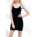 Popular Womens Spaghetti Straps Mini Fitted Slip Dress in Black