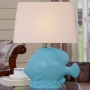 Blue Finish 1 Head Night Light Traditional Ceramics Fish-Shape Nightstand Lamp with Fabric Shade