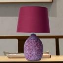 Barrel Shade Bedside Night Table Light Traditional Fabric Single Purple-Red Ceramics Nightstand Lamp