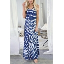 Stylish Womens Tie-dye Print Spaghetti Straps V-neck Cut out Maxi Pleated A-line Cami Dress